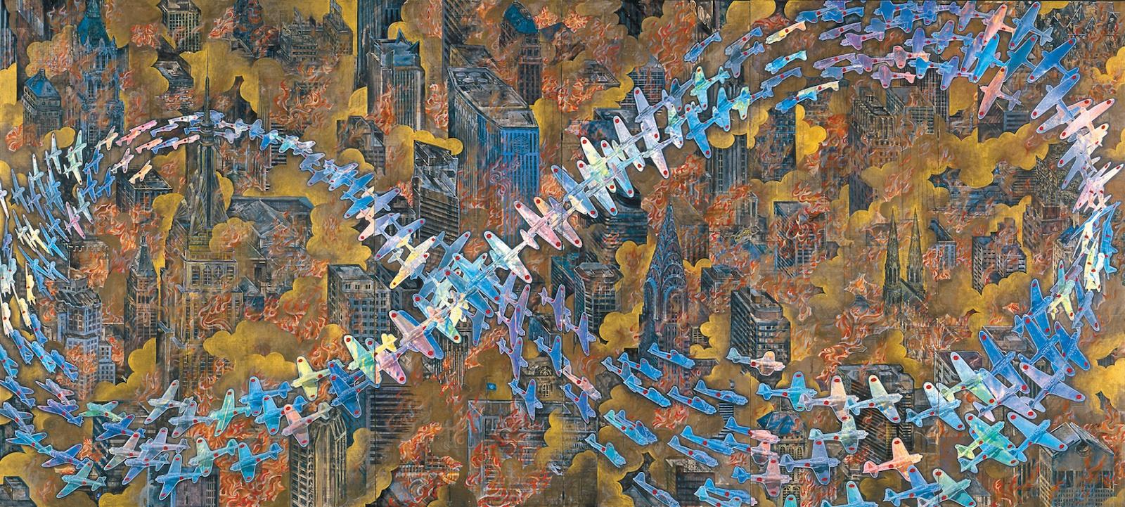 会⽥誠《<ruby>紐育空爆之図<rp>(</rp><rt>にゅうようくくうばくのず</rt><rp>)</rp></ruby>(戦争画RETURNS)》 (部分) 1996 零戦CG制作:松橋睦⽣ Photo: NAGATSUKA Hideto ©AIDA Makoto, Courtesy of Mizuma Art Gallery